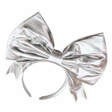 Haarband met jumbo strik zilver