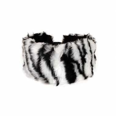 Haarband met pluche zebra dieren print voor dames