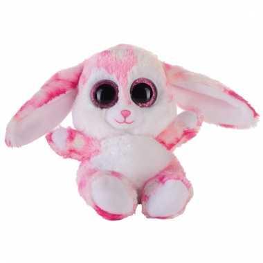 Haasjes/konijntjes knuffeltje roze 15 cm