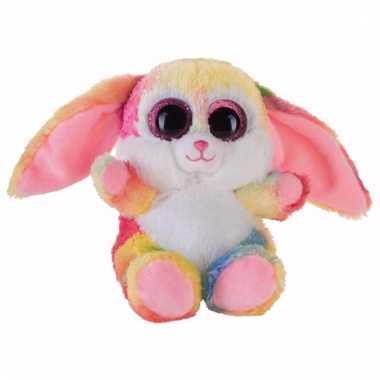 Haasjes/konijntjes knuffeltje roze gekleurd 15 cm