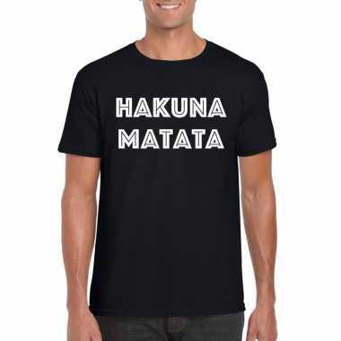 Hakuna matata tekst t-shirt zwart heren