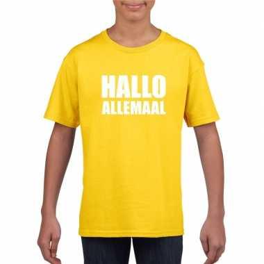 Hallo allemaal tekst geel t-shirt voor kinderen