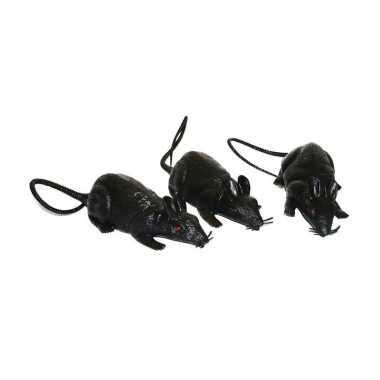 Halloween - 3x grote plastic ratten 12 cm