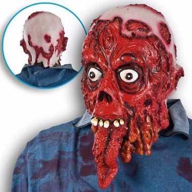 Halloween bloederig masker met lange tong