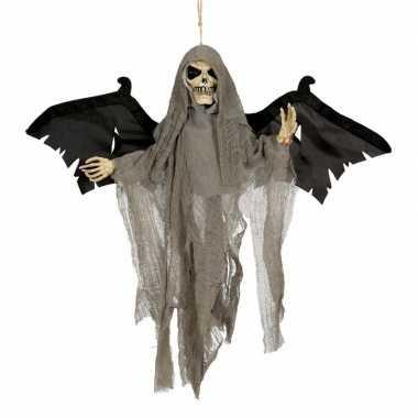 Halloween - decoratie skelet pop met vleugels en licht en geluid 45 c