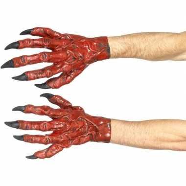 Halloween duivel latex handschoenen voor volwassenen