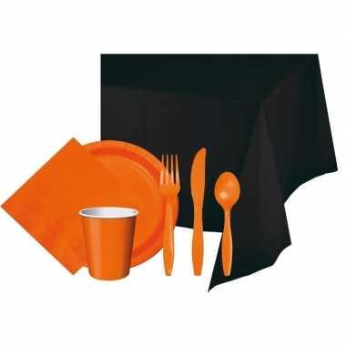 Halloween feestpakket zwart/oranje 8 persoons