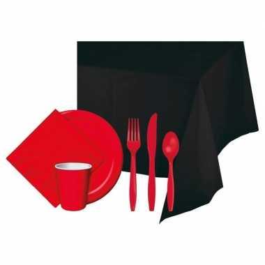 Halloween feestpakket zwart/rood 8 persoons