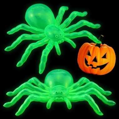 Halloween - halloween versiering glow in the dark spinnen 14 cm 2x st