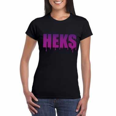 Halloween heks tekst t-shirt zwart dames