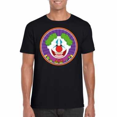 Halloween horror clown t-shirt zwart heren