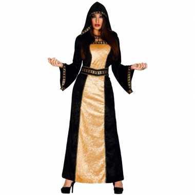 Halloween - horror duistere vrouw jurk zwart met goud