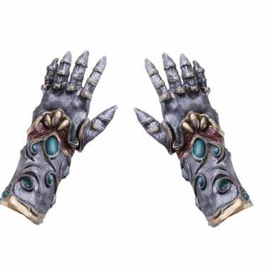 Halloween - horror handschoenen metaal/alien voor volwassenen