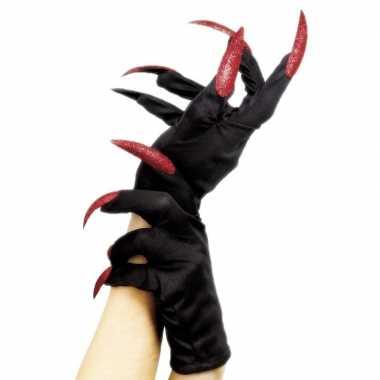 Halloween horror handschoenen zwart met rode nagels