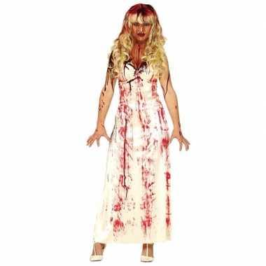 Halloween - horror kostuum lange bloederige witte jurk