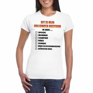 Halloween kostuum lijstje t-shirt wit dames