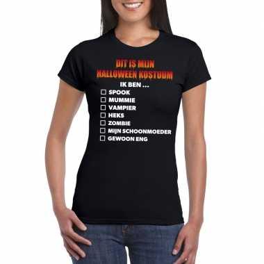 Halloween kostuum lijstje t-shirt zwart dames