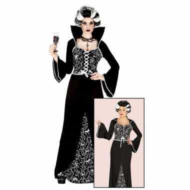 Halloween - luxe vampieren jurk zwart/wit voor dames