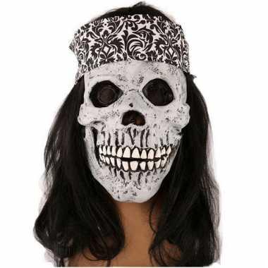 Halloween masker schedel met haar