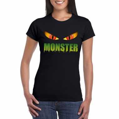 Halloween monster ogen t-shirt zwart dames