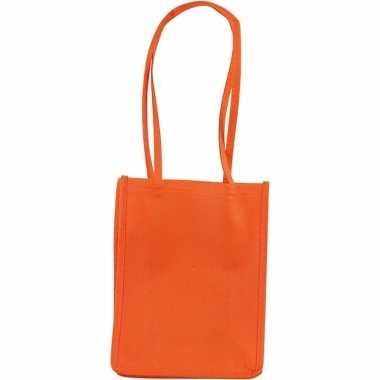 Halloween - oranje tasje met hengels 20 cm