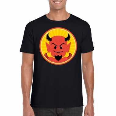 Halloween rode duivel t-shirt zwart heren