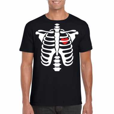 Halloween skelet t-shirt zwart heren