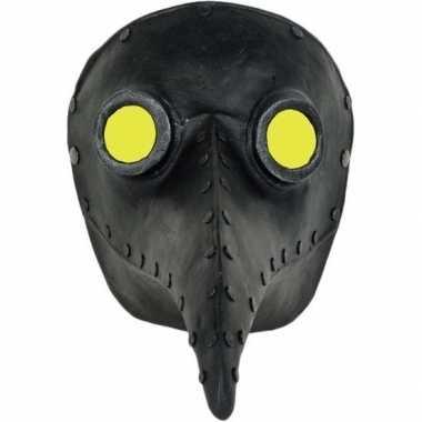 Halloween snavelmasker zwart pestmeester
