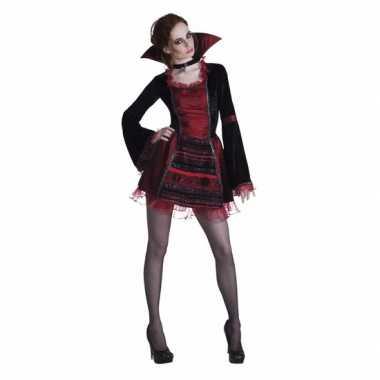 Halloween - vampier damesjurkje met opstaande kraag