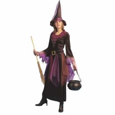 Halloween verkleedkleding heks paars