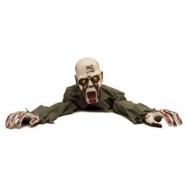 Halloween versiering kruipende zombie met licht en geluid 100 cm