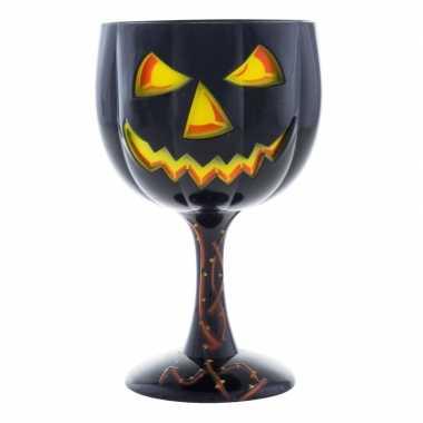 Halloween wijnglas/kelk pompoen 18 cm