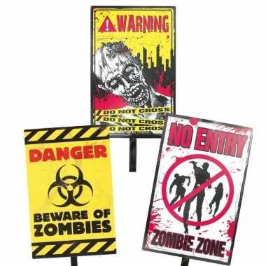 Halloween zombie waarschuwingsbord danger 38 cm