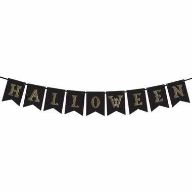Halloween - zwarte halloween diy banner vlaggenlijn/slinger 20 x 175