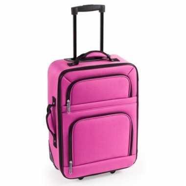 Handbagage trolley roze 50 cm