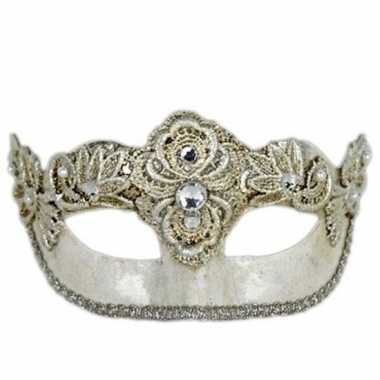 Handgemaakt decoratie zilver oogmasker colombina