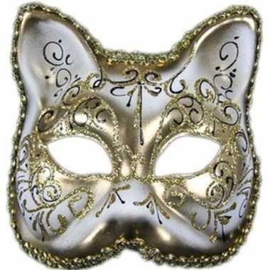 Handgemaakt katjes/poesjes masker wit/goud