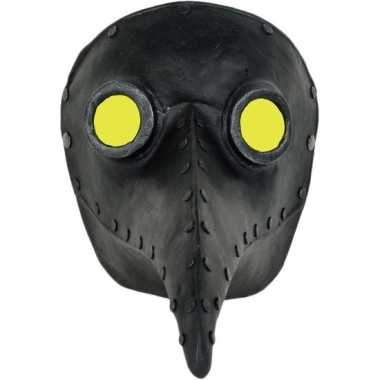 Handgemaakt snavelmasker zwart pestmeester