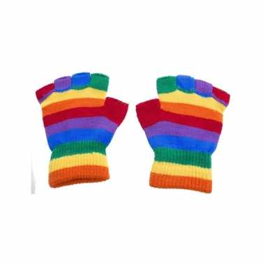 Handschoenen zonder vingers regenboog one size