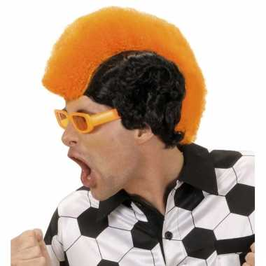 Hanenkam pruik oranje/zwart