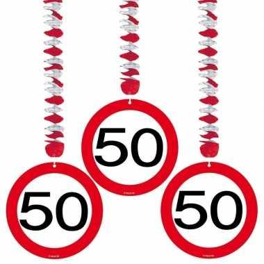 Hangdecoratie 50e verjaardag 15x stuks