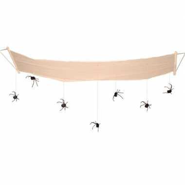 Hangdecoratie halloween spinnen aan hangmat 310 cm
