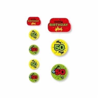 Hangslinger 50e verjaardag geel/groen