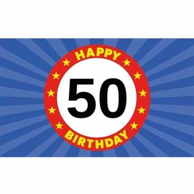 Happy birthday 50 jaar versiering vlag 150x90