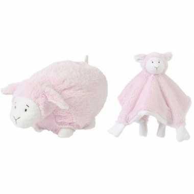Happy horse lammetje roze knuffeldoekje en knuffel liggend 26cm