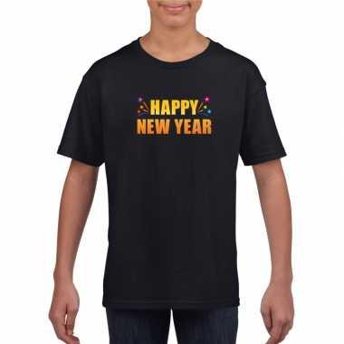 Happy new year t-shirt zwart voor kinderen