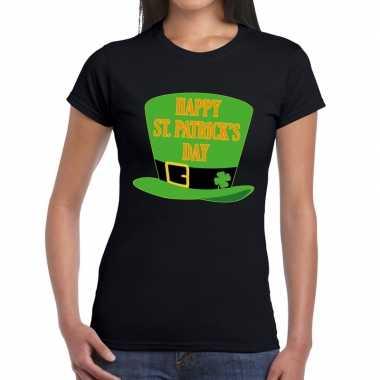 Happy st. patricksday shirt zwart dames