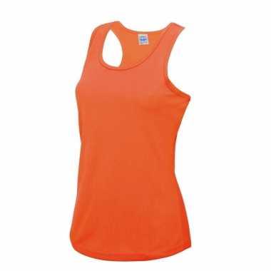 Hardloopkleding neon oranje dames singlet