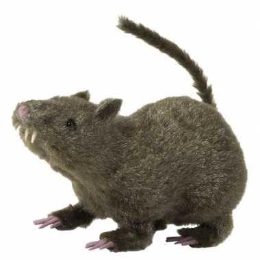 Harige decoratie rat bruin 21 cm