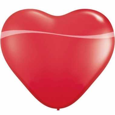 Hartjes ballon van 90 cm rood